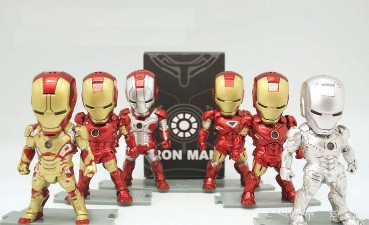 EGG ATTACK IRON MAN 6PCS SET ACTION FIGURE With LED Car Decoration Action figure #Unbranded