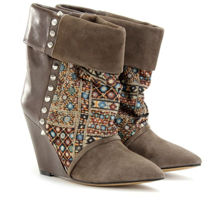 Isabel Marant- Kate suede print corduroy and leather wedges ankle boots