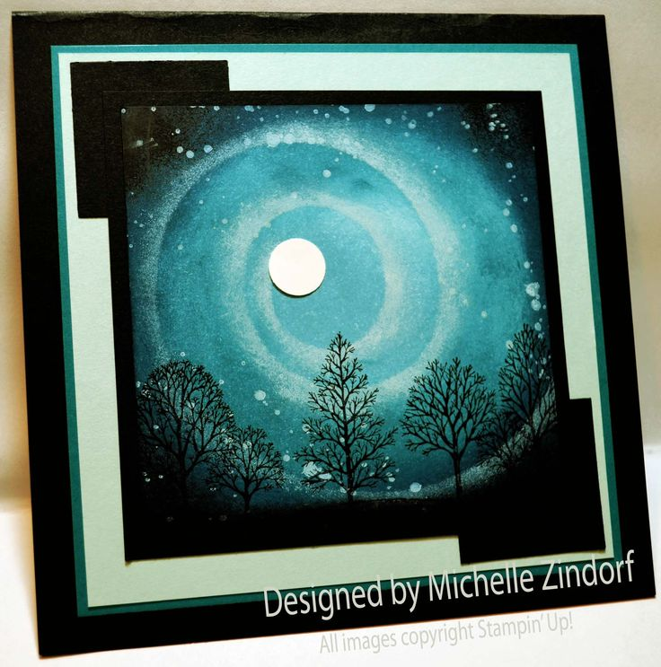 Stampin' Up! ...handmade card: Starry Night –  beautiful turquoise night scene ... silhouetted tree in a star swirl ... fabulous!