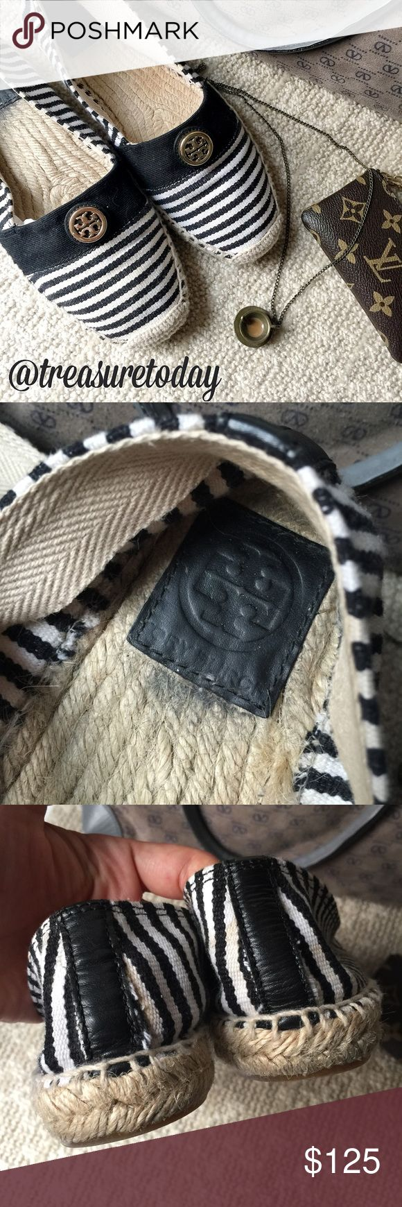 🎉HOST PICK 8/21🎉 Tory Burch Striped Espadrilles Authentic Tory canvas shoes in great condition, used only a few times. Lots of life left, no box. Feel free to ask any question, I'm here to help! 🎉Offers welcome 🎉 Bundle 2 or more items and get %10 off instantly💕 all pictures are taken by me. Tory Burch Shoes Espadrilles