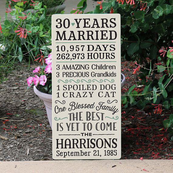 30 Year Anniversary Sign / Custom Anniversary Gift for 25 Year, 30 Year, 40…