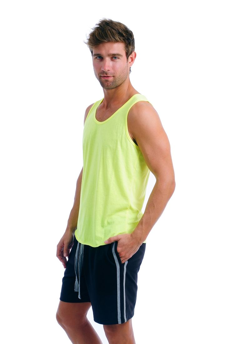 Our basic men's tank is the perfect combination of style and comfort. It's a perfect solid tank for men, made with 60% combed cotton and 40% polyester soft blend. This tank top is smooth while fitted