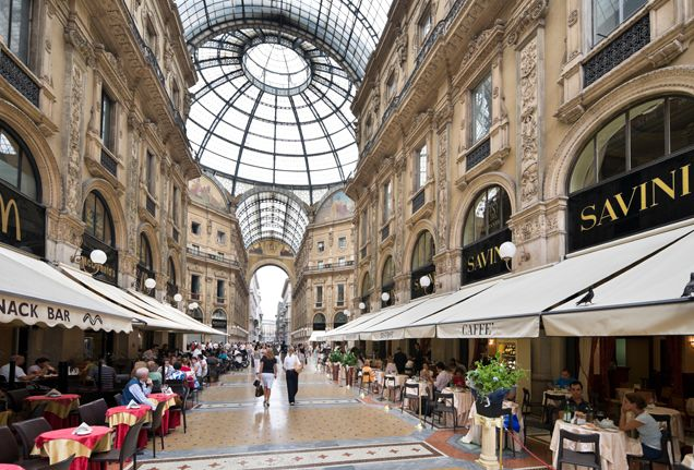 Cafe's in the Galleria in Milan