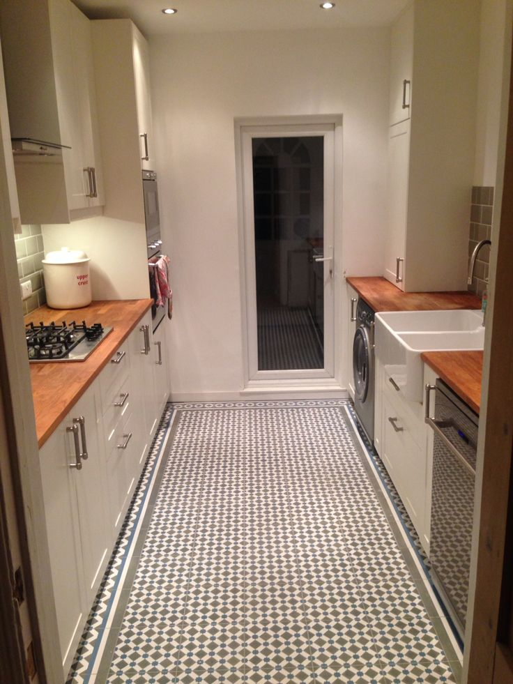 Finished kitchen, victorian house, ikea units. Henley cool tiles, Villeroy & Boch sink