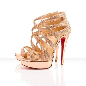 christian louboutin pink sandals with a chiffon cascade