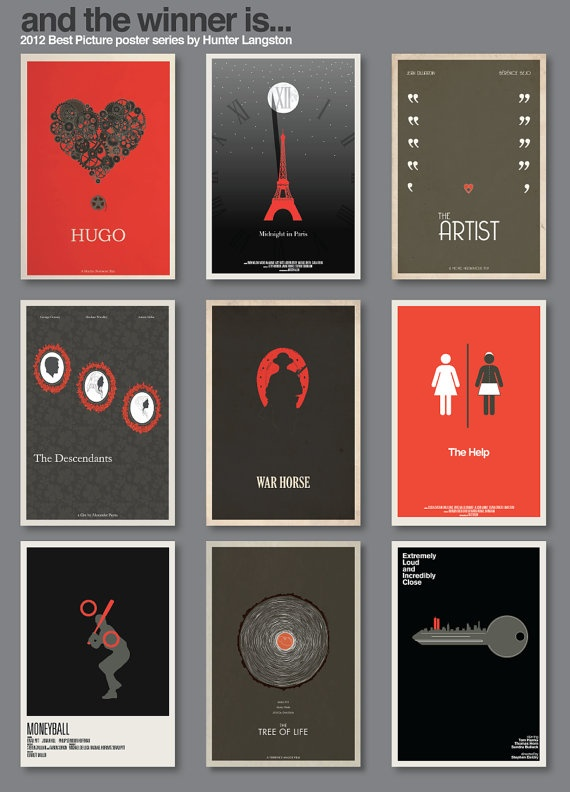 2012 Best Picture Nominee Poster Series - Complete Collection all 9 posters by Hunter Langston