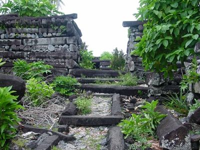 """An ancient 13th century religious complex, called Nan Madol, was built on the Pacific island of Pohnpei, using columnar basalt quarried from various locations on the island. The massive ruins remain to this day."""