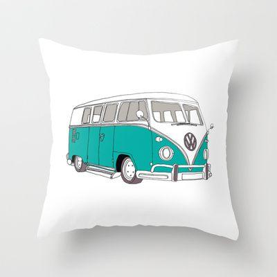 Blue Volkswagen Camper Van (Landscape) (Kombi / VW) Throw Pillow by BLUEBUTTON STUDIO - $20.00