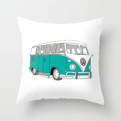 Blue Volkswagen Camper Van (Landscape) (Kombi / VW) Throw Pillow by BLUEBUTTON STUDIO - $20.00