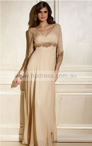 3/4-Length Sleeves Zipper Deep V-neck Floor-length Chiffon Evening Dresses dt00339--Hodress