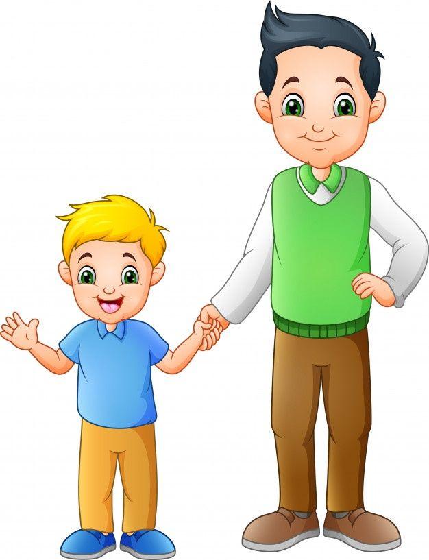 Nino De Dibujos Animados Con Su Padre Co Premium Vector Freepik Vector Escuela Personas Beb Papa Caricatura Ninos Dibujos Animados Dibujos Para Ninos