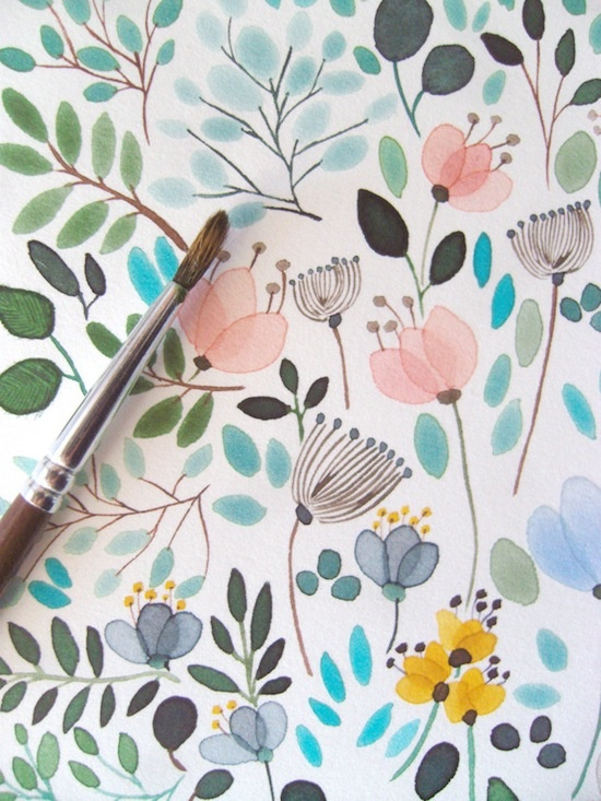 flower illustration design pattern from aquarela