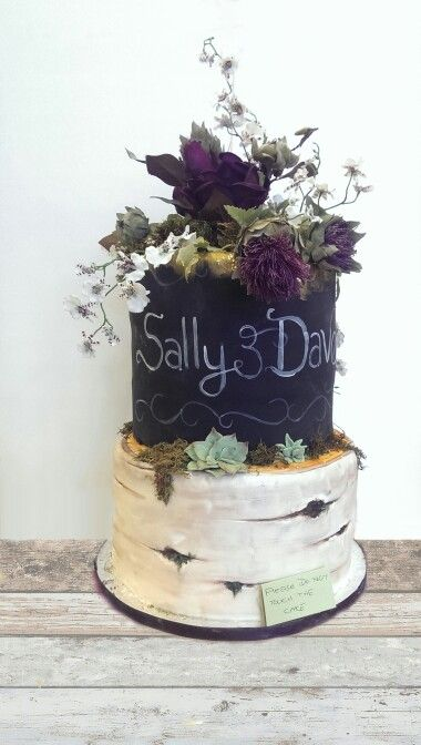 Chalkboard and silver birch cake