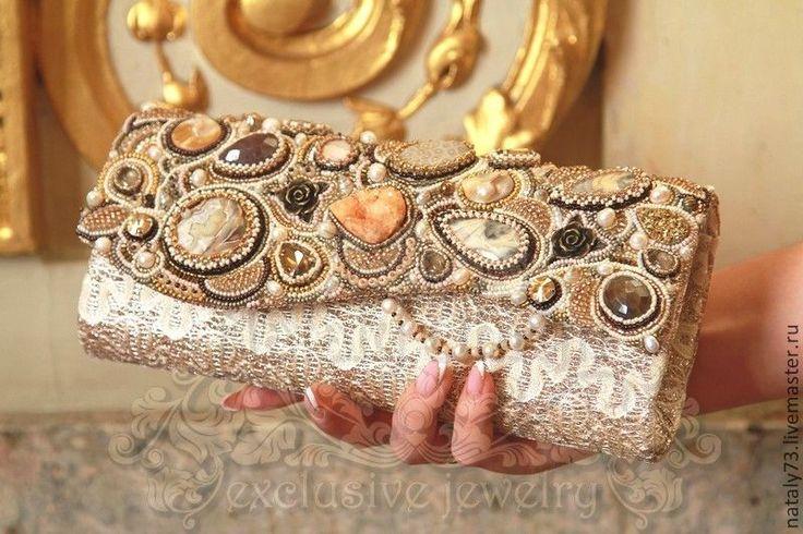 """Купить сумочка-клатч """"Mon cheri"""" - бежевый, орнамент, клатч ручной работы"""