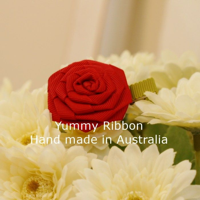 Red Rose| s06  Minisize ribbon bow clip  100% Handmade in Australia  Bow size: 6cm x 5cm (apporx)  Clip length : 5cm(alligator clip)