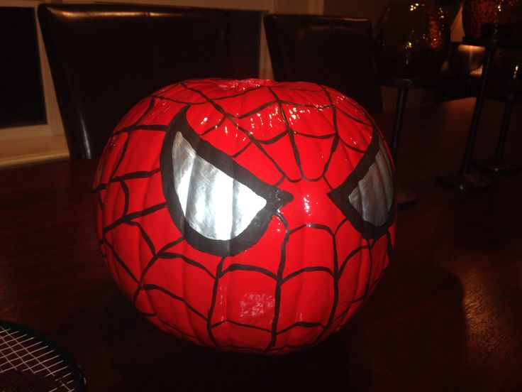 Spider-man painted pumpkin. Next time I'll use craft pumpkins so I'll have it permanently