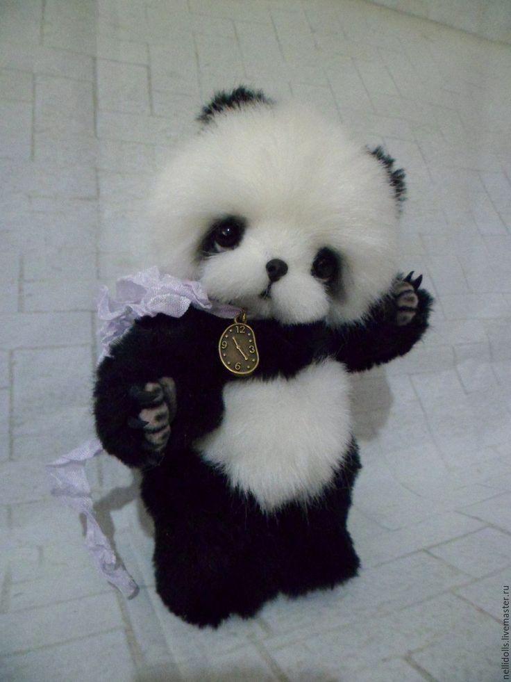 Купить Панда,15 см. - комбинированный, панда, панда игрушка, ручная работа