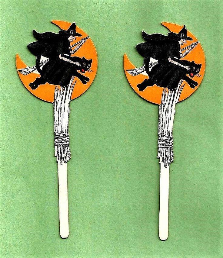 2 VINTAGE 1920's Dennison HALLOWEEN Witch Riding Black Cat Cut-Out Decorations #Dennison #Party #Paper