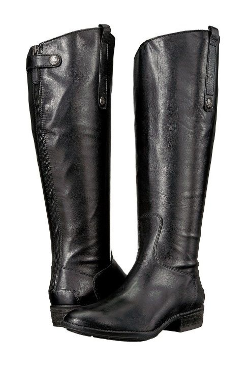 1ff114246cd4 Black Wide Calf Leather Riding Boot - You ll look stunning in these  fashionable Penny Wide Calf Riding Boots by Sam Edelman. Back-zip closure  with snap tap ...
