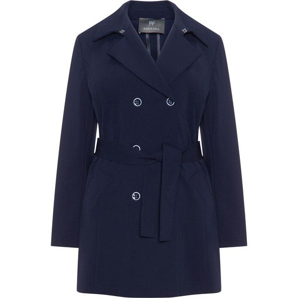 Karin Paul Dark-Blue Plus Size Ponte roma jersey trench coat ($280) ❤ liked on Polyvore featuring outerwear, coats, plus size, blue double breasted coat, womens plus coats, trench coats, blue jersey and dark blue coat