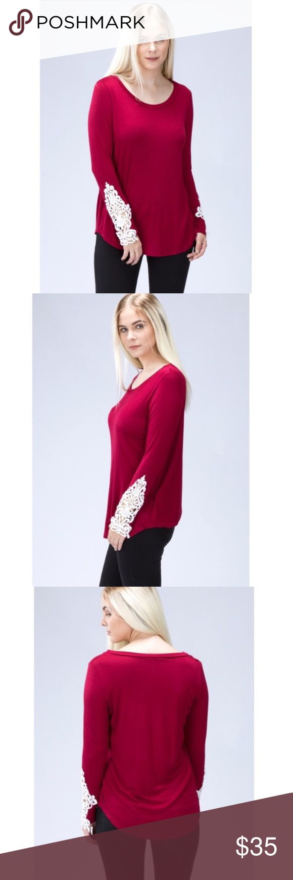❤️VALENTINES DAY❤️Burgundy Crochet Sleeves Top Adorable round neck top! Perfect for the holidays! 100% made in the USA! 96% rayon, 4% spandex! Model is wearing a small! Tops Tees - Long Sleeve