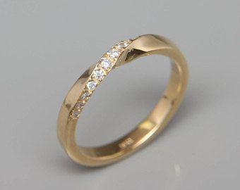 14k Gold Mubius Ring mit Brillanten ausgefasst   Mobius Ring Diamanten   14k Gold Mobius Wedding Ring set mit Diamanten   Diamomd Hochzeitsring