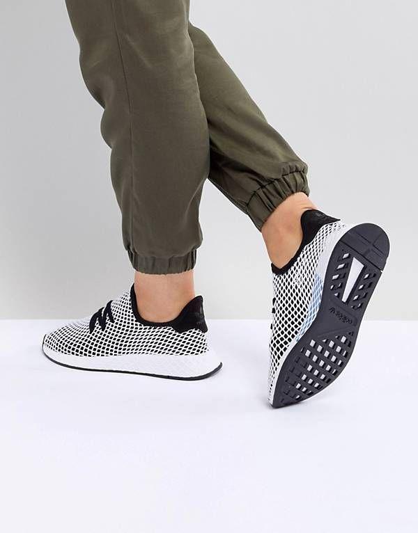 096fbb5d8ff80 adidas Originals Deerupt Runner Trainers In Black And Grey