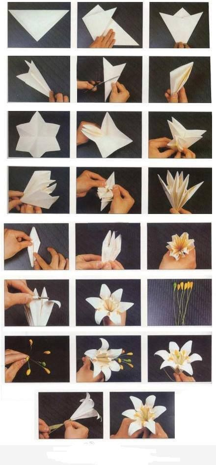 How to fold origami paper craft blooming lily flowers step by step DIY tutorial instructions