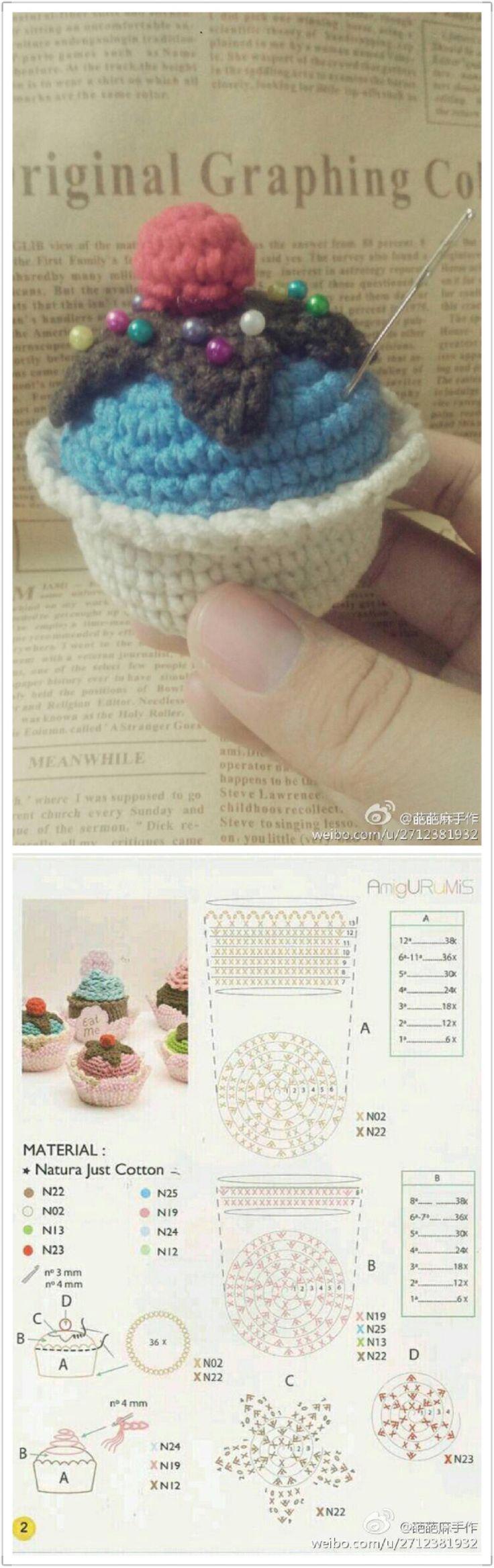 Crochet cupcake chart patter