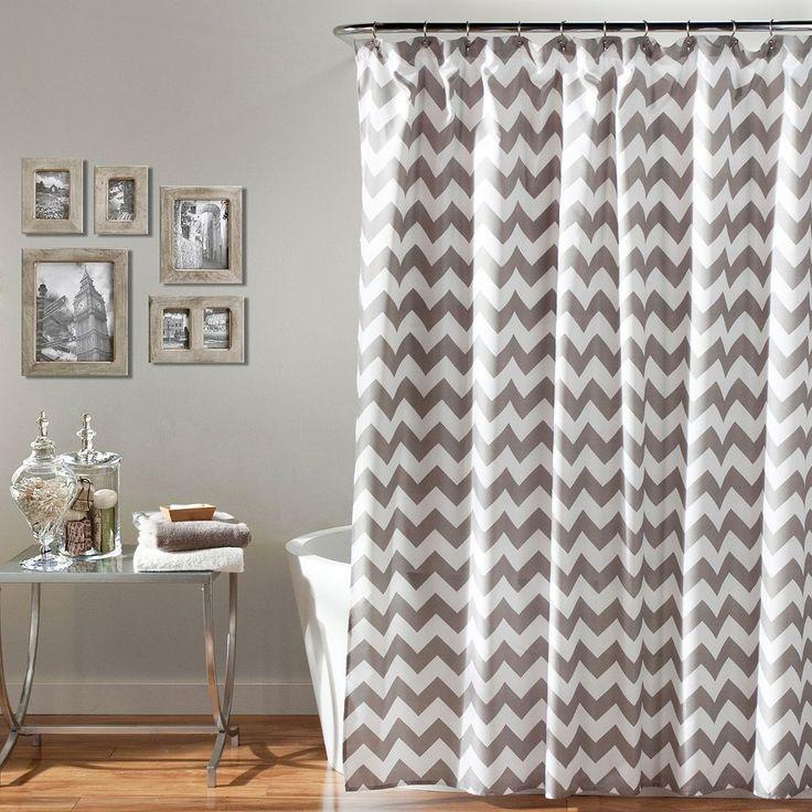 Lush Decor Chevron Shower Curtain, Grey