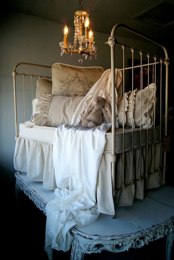 linen, iron bed, French market great idea bed on table love love love