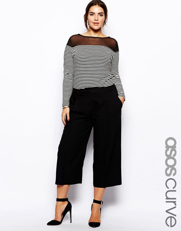 ASOS curve trousers in midi length. cullottes. Love the whole outfit.