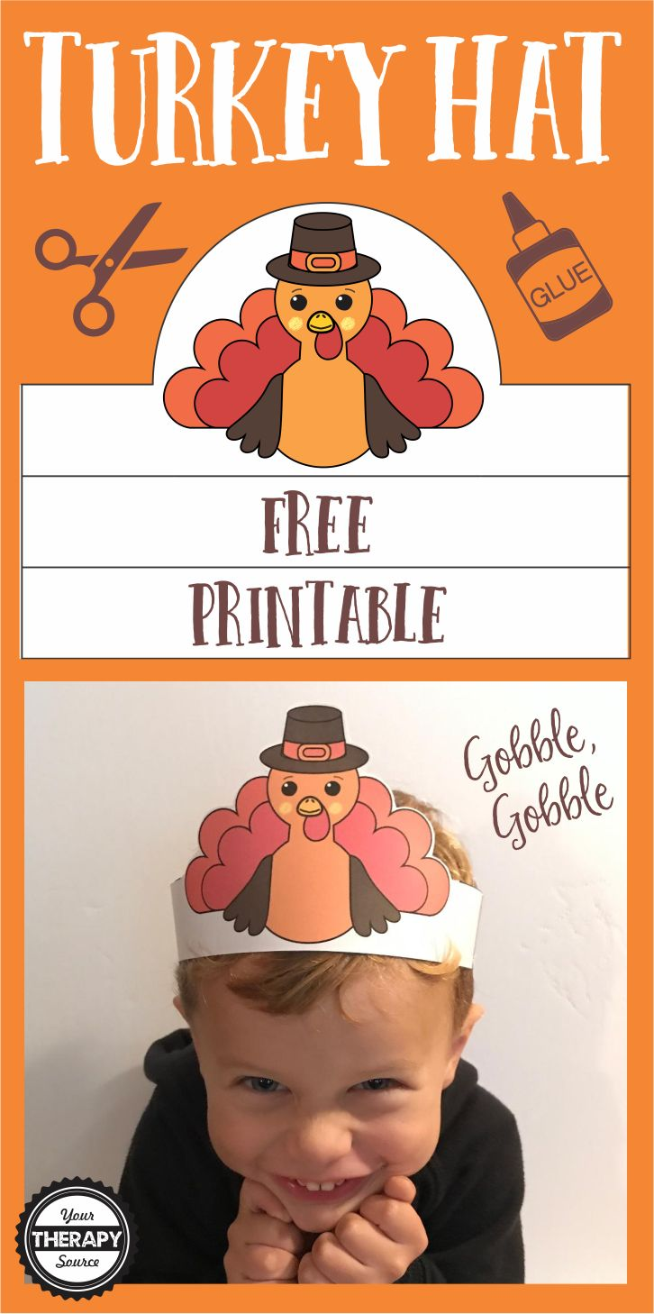 Free Turkey Hat - practice cutting straight lines and a curved line to create this adorable hat for Thanksgiving day!