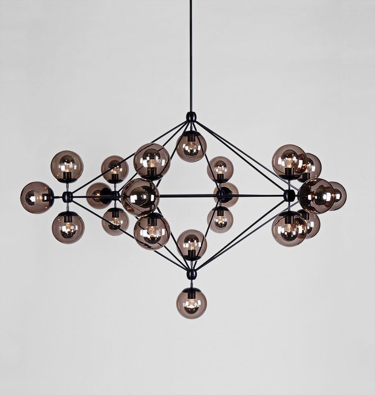 Modo Chandelier - 6 Sided, 21 Globes (Black/Smoke). Designed by Jason Miller for Roll & Hill