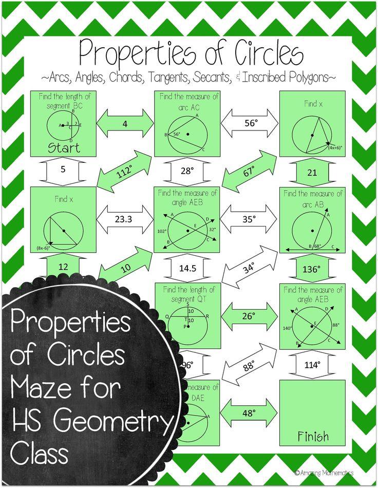 properties of circles maze arcs tangents secants. Black Bedroom Furniture Sets. Home Design Ideas