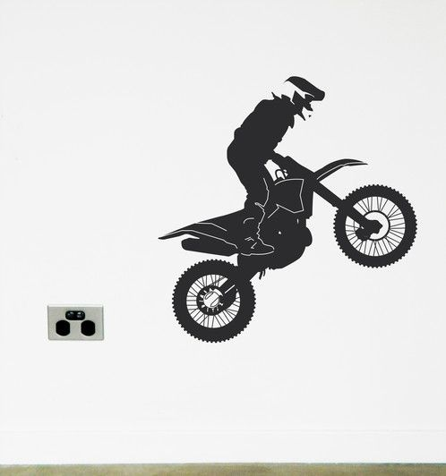 Get Muddy on your dirt bike. Wall sticker fun https://www.moonfacestudio.com.au/product-page/dirt-bike-vinyl-wall-sticker-decal