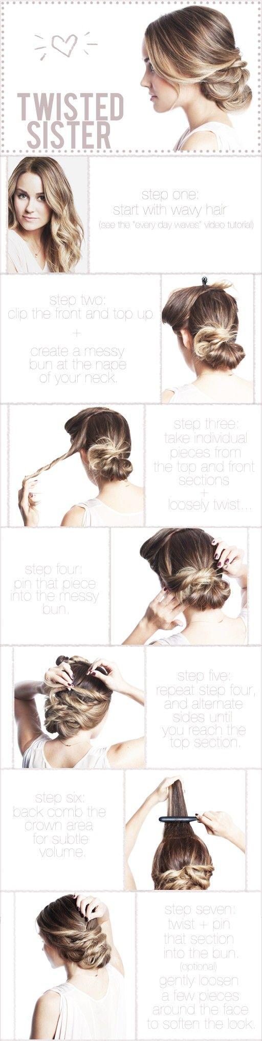 hair-buns-2: Hair Ideas, Hair Tutorials, Long Hair, Hairstyle, Messy Buns, Twists Sisters, Hair Style, Lauren Conrad, Updo