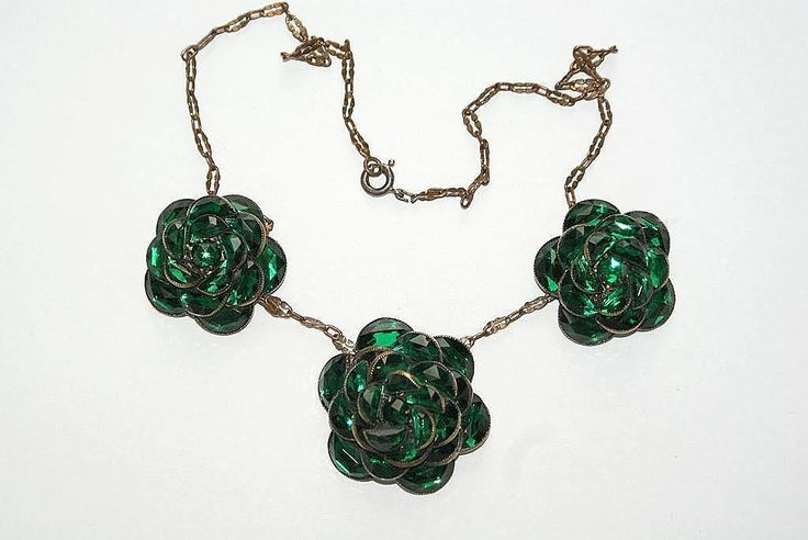 #2892 Deep Green Floral Tiered Demi Rhinestone Necklace  Exclusively at Lee Caplan Vintage Collection on RubyLane