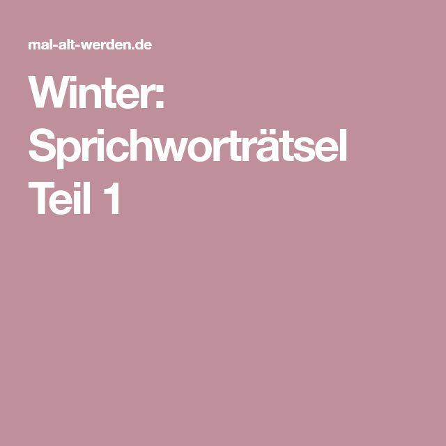 Winter: Sprichworträtsel Teil 1