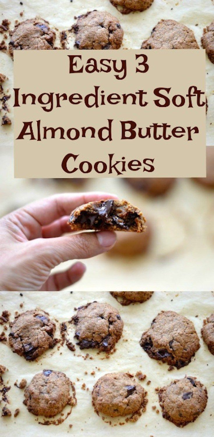 Easy 3 Ingredient Soft Almond Butter Cookies