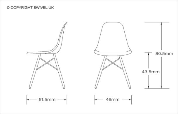 Charles E Dsw Retro Fibreglass Dining Side Chair