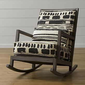 MIXING IN A ROCKER IN FUN PATTERN COULD BE GREAT.  I LIKE SEEING WOOD ON SOME UPHOLSTERED PIECES.