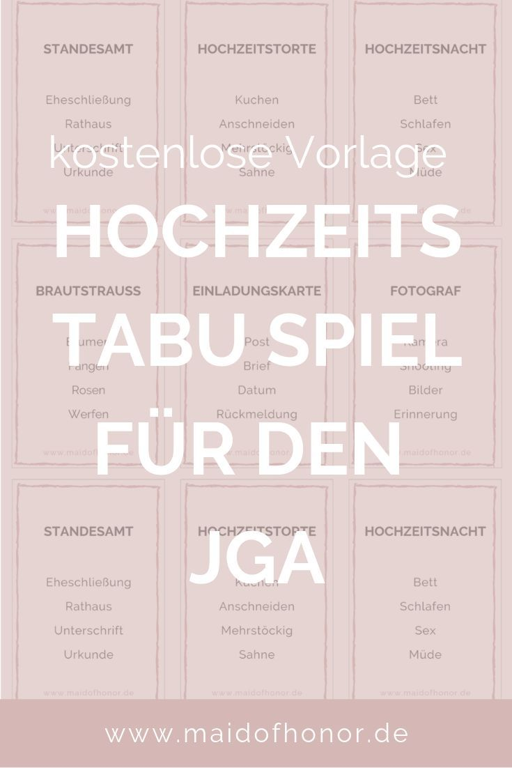JGA IDEEN: Tabu-Spiel für den JGA oder die Brautparty zum Ausdrucken