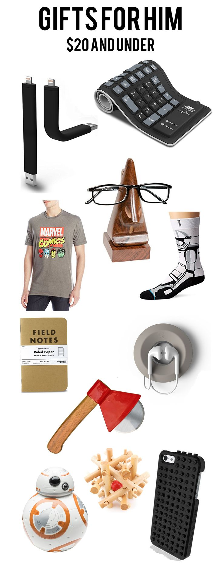 Gift Guide for Him - $20 and Under