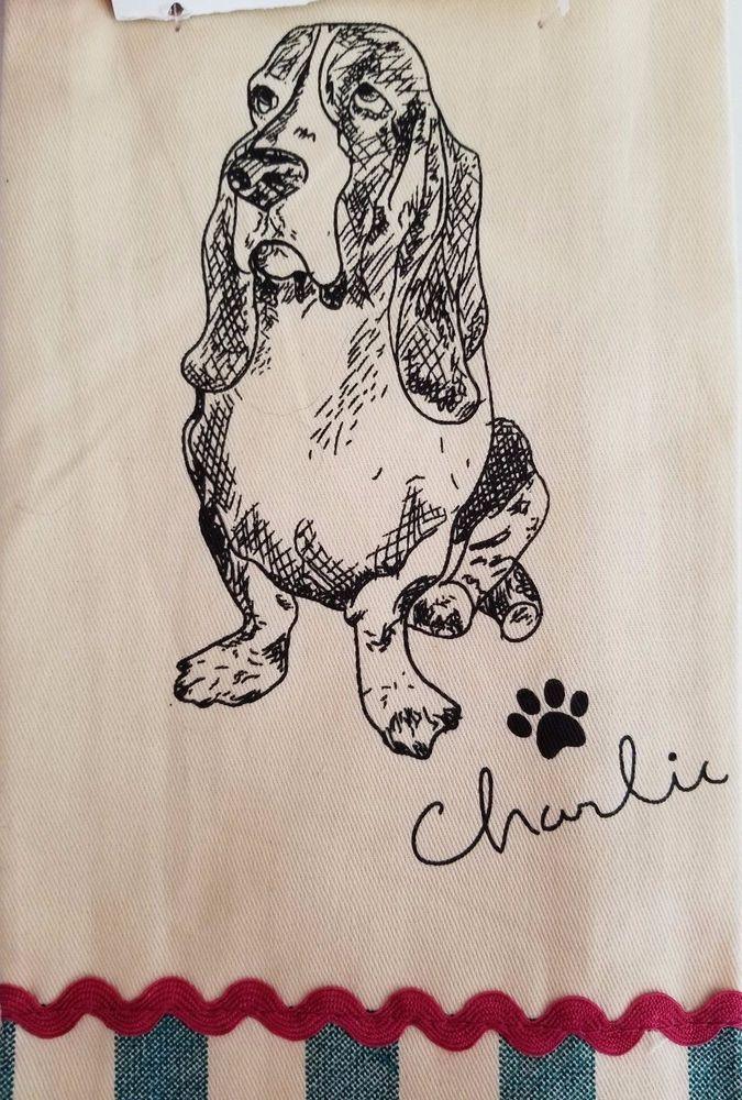 The Pioneer Woman CHARLIE Basset Hound Dog Kitchen Towel Set of 2