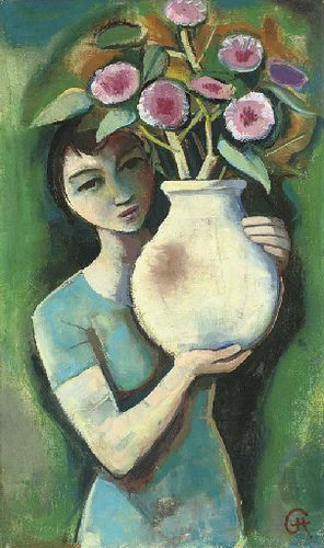 Hofer, Carl (1878-1955) - 1930c. Girl Holding a Vase with Flowers (Christie's London, 2006), for more please visit http://painting-in-oil.com/artworks-El-Greco-page-1-delta-ALL.html