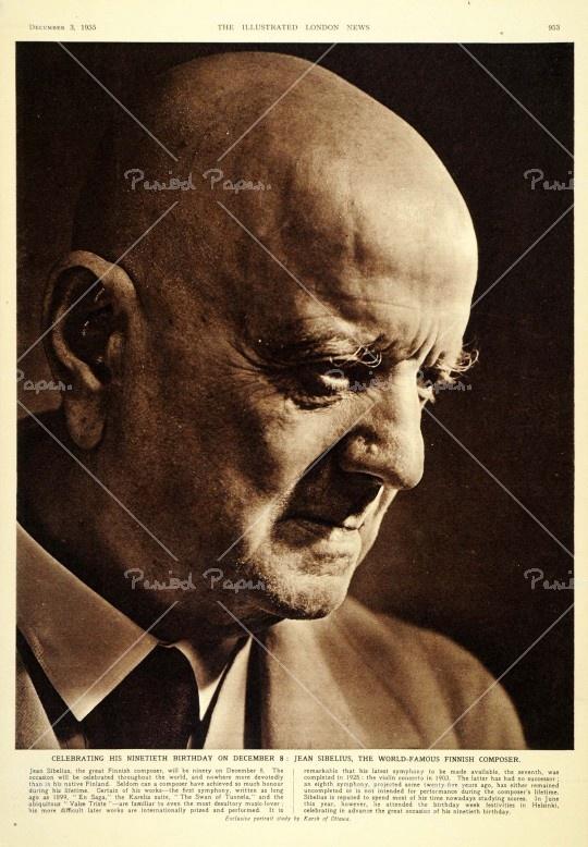 Jean Sibelius - an original 1955 print of a portrait. Portrait study by Karsh of Ottawa