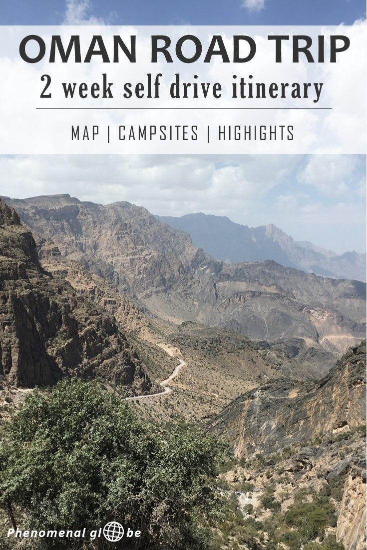 2 week self drive itinerary for Oman, including map with campsites and highlights (Jebel Shams, Wadi Bani Khalid, Sharqiya Sands and more)!