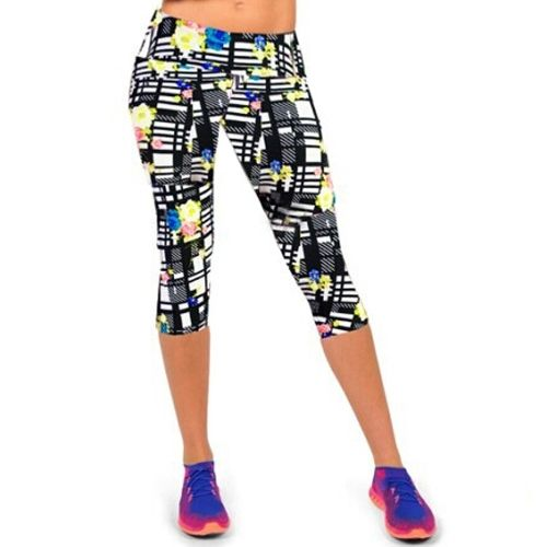 (5.6$)  Buy here  - Fashion Women Lady Cropped Trousers Vintage Print Elastic Waist Gym Wear Yoga Capri Pants