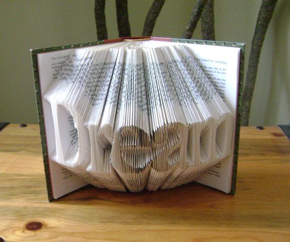 Folded book art, Dream, recycled book art by DancingGreyStudio